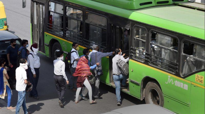 Rush at stops defeats social distancing in Delhi buses